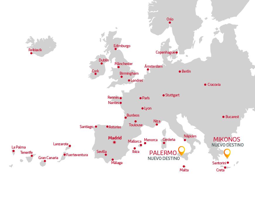 mapa de destinos iberia express