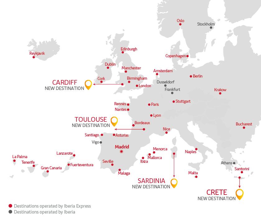destinations map Iberia Express