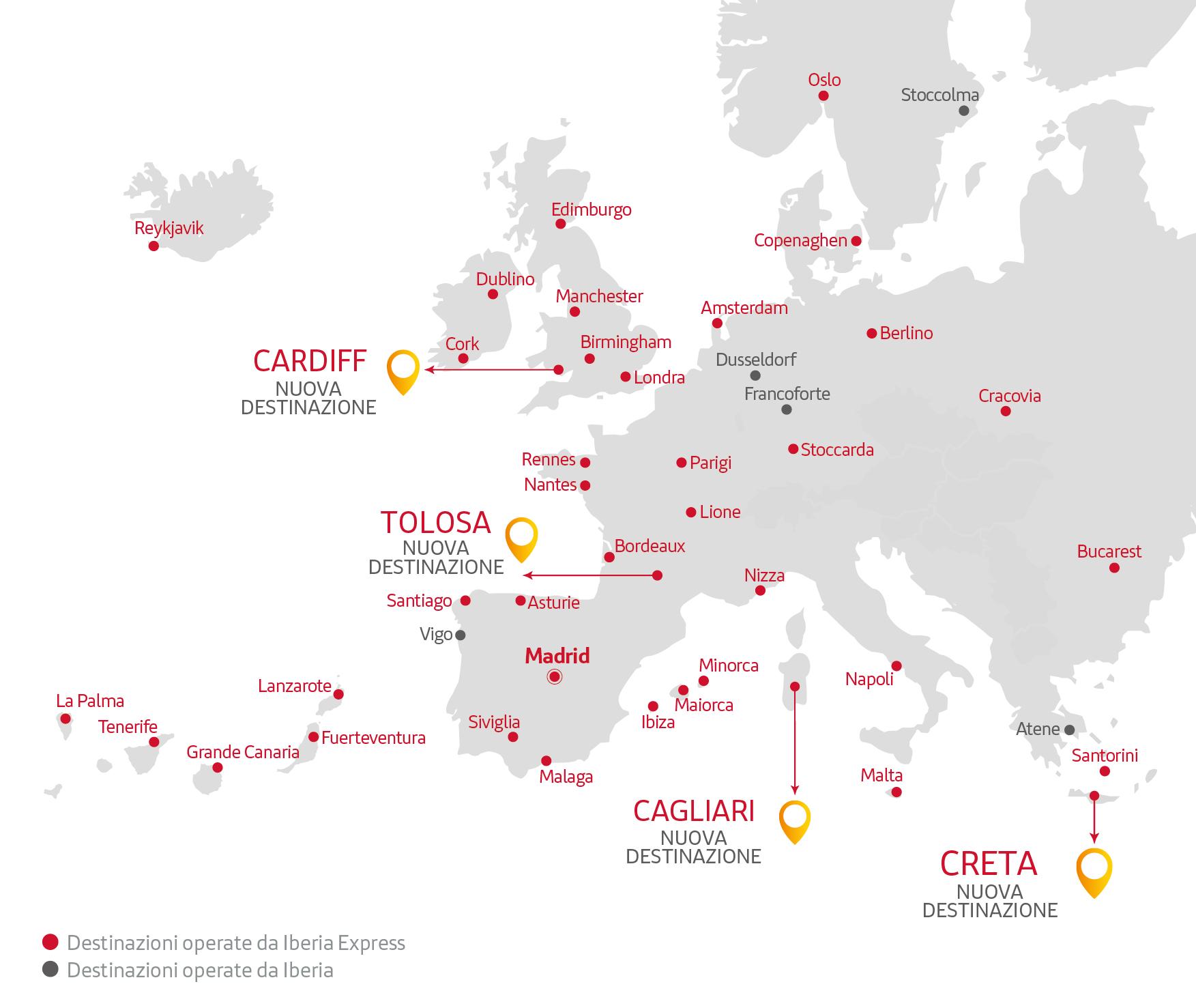 mappa delle destinazioni di Iberia Express