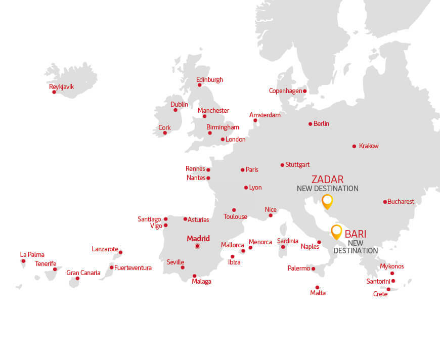 Our destinations 2019 | Iberia Express on spain map, portugal location on map, ural mountains map, herculaneum map, latin map, spanish language, mediterranean map, austria map, scandinavian peninsula, strait of gibraltar, spanish inquisition, poland map, iberian peninsula map, black sea, rock of gibraltar, italian peninsula, roman empire map, european map, arabian peninsula, the british isles map,